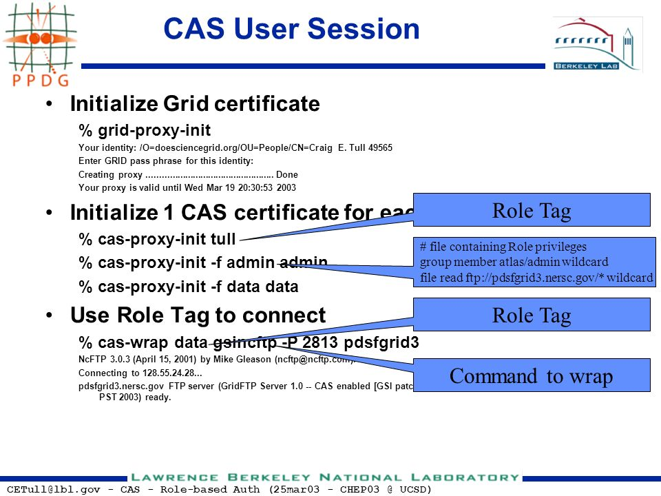 CETull@lbl.gov - CAS - Role-based Auth (25mar03 - CHEP03 @ UCSD) CAS User Session Initialize Grid certificate % grid-proxy-init Your identity: /O=does