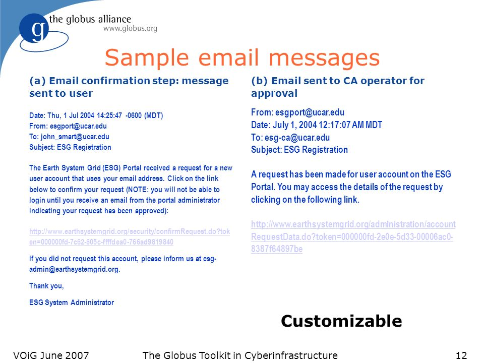 VOiG June 2007The Globus Toolkit in Cyberinfrastructure12 Sample email messages (a) Email confirmation step: message sent to user Date: Thu, 1 Jul 2004 14:25:47 -0600 (MDT) From: esgport@ucar.edu To: john_smart@ucar.edu Subject: ESG Registration The Earth System Grid (ESG) Portal received a request for a new user account that uses your email address.