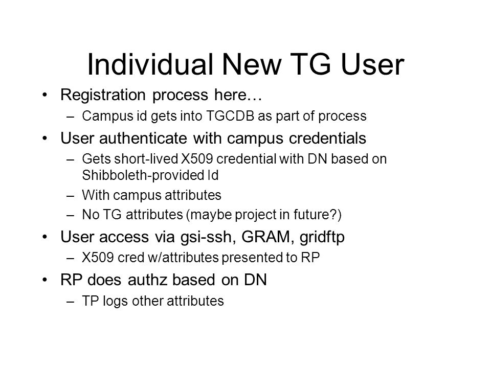 Individual New TG User Registration process here… –Campus id gets into TGCDB as part of process User authenticate with campus credentials –Gets short-