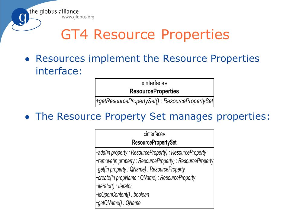 l Resources implement the Resource Properties interface: l The Resource Property Set manages properties: