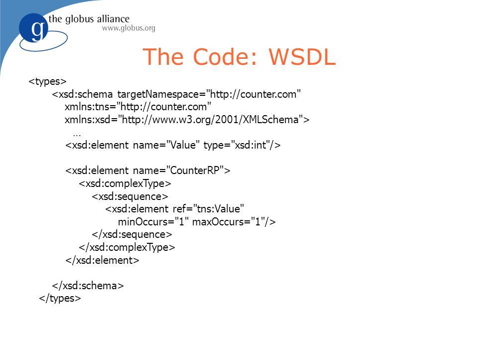 The Code: WSDL <xsd:schema targetNamespace= http://counter.com xmlns:tns= http://counter.com xmlns:xsd= http://www.w3.org/2001/XMLSchema > … <xsd:element ref= tns:Value minOccurs= 1 maxOccurs= 1 />
