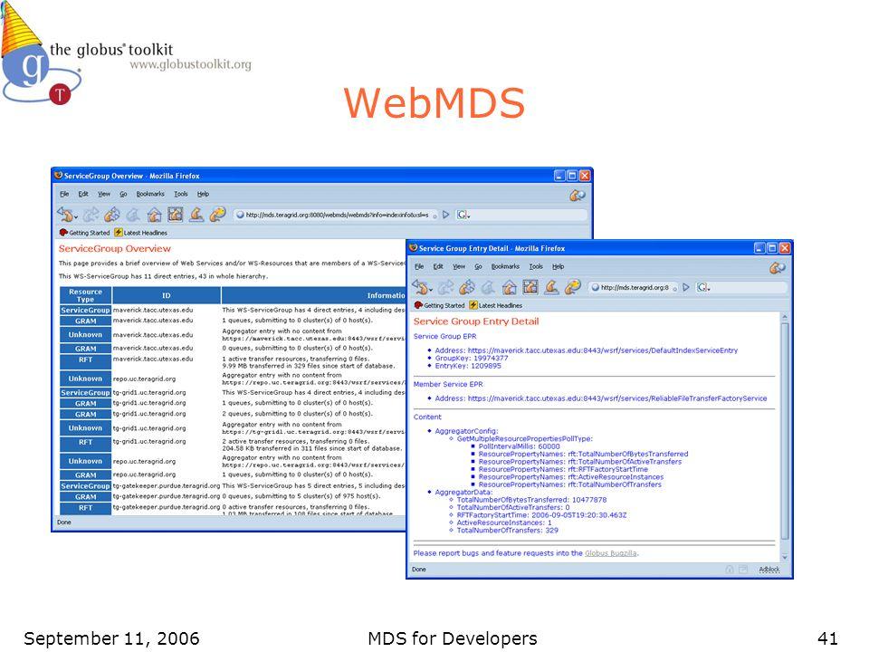 September 11, 2006MDS for Developers41 WebMDS