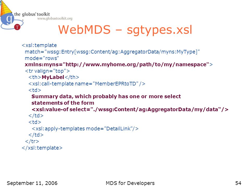 September 11, 2006MDS for Developers54 WebMDS – sgtypes.xsl <xsl:template match=