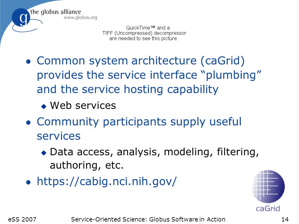 eSS 2007Service-Oriented Science: Globus Software in Action14 Cancer Bioinformatics Grid l Common system architecture (caGrid) provides the service interface plumbing and the service hosting capability u Web services l Community participants supply useful services u Data access, analysis, modeling, filtering, authoring, etc.