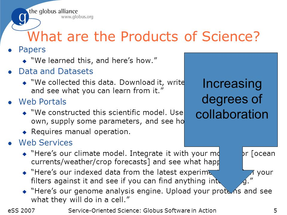 eSS 2007Service-Oriented Science: Globus Software in Action5 What are the Products of Science? l Papers u We learned this, and heres how. l Data and D