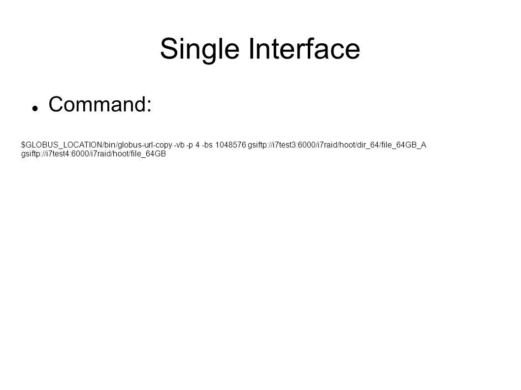 Single Interface Command: $GLOBUS_LOCATION/bin/globus-url-copy -vb -p 4 -bs 1048576 gsiftp://i7test3:6000/i7raid/hoot/dir_64/file_64GB_A gsiftp://i7test4:6000/i7raid/hoot/file_64GB