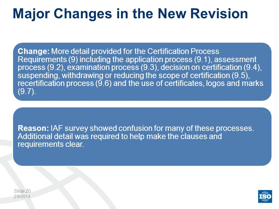 Major Changes in the New Revision 2/9/2014 Slide 20 Change: More detail provided for the Certification Process Requirements (9) including the applicat