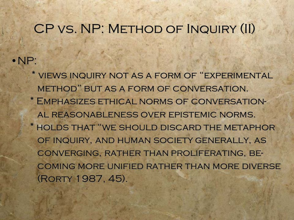 Metatheoretical Consequences of CP and NP (I) Do the metatheoretical differences between CP and NP make a practical difference for KO (meta)theory.
