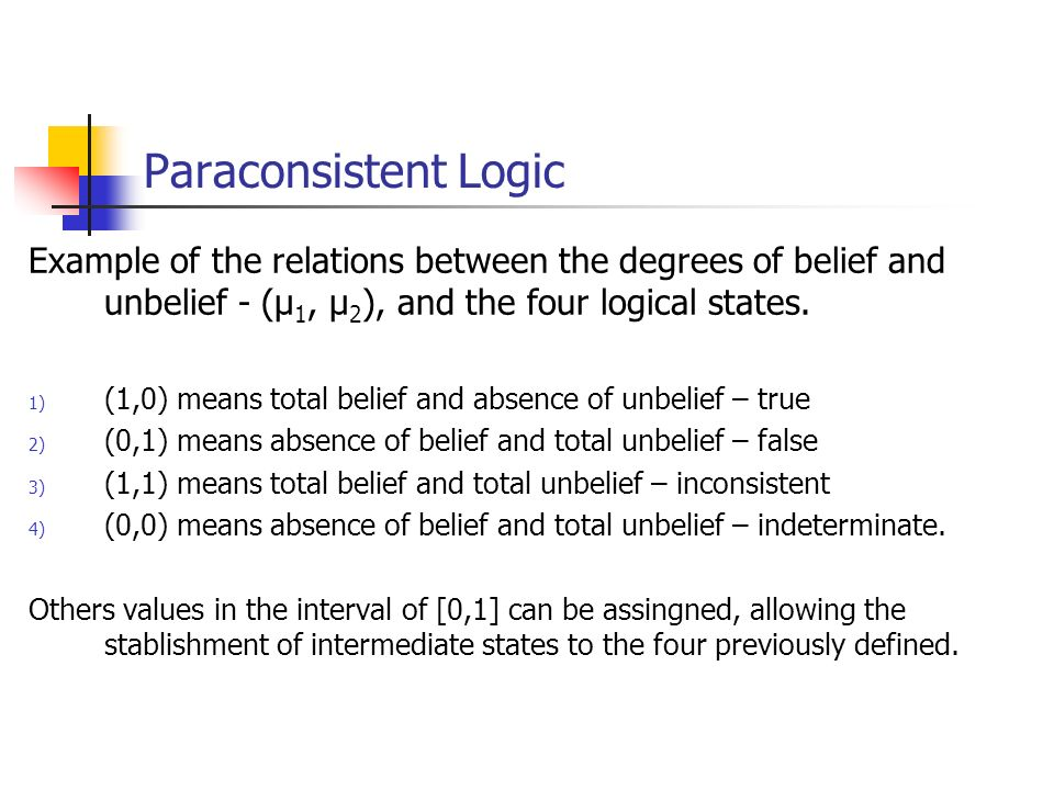 Paraconsistent Logic Example of the relations between the degrees of belief and unbelief - (µ 1, µ 2 ), and the four logical states.