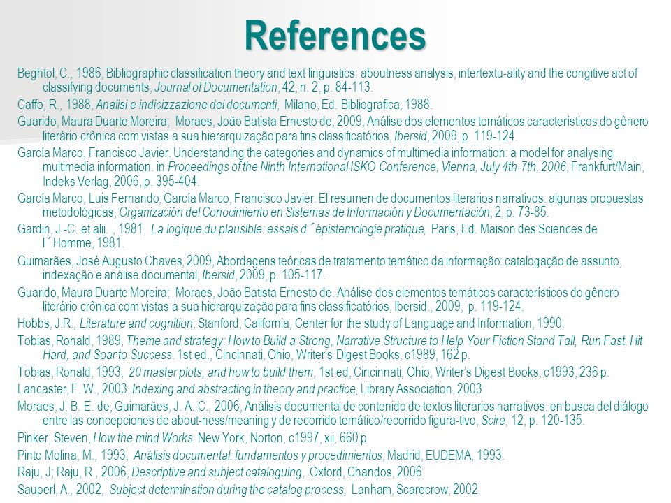 References Beghtol, C., 1986, Bibliographic classification theory and text linguistics: aboutness analysis, intertextu-ality and the congitive act of