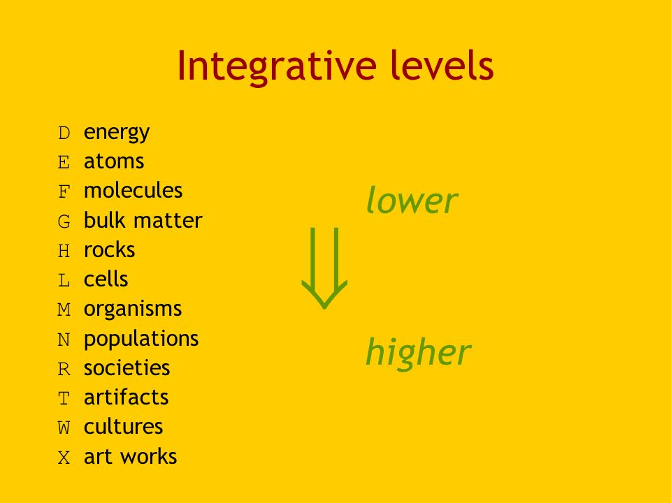 Integrative levels D energy E atoms F molecules G bulk matter H rocks L cells M organisms N populations R societies T artifacts W cultures X art works lower higher
