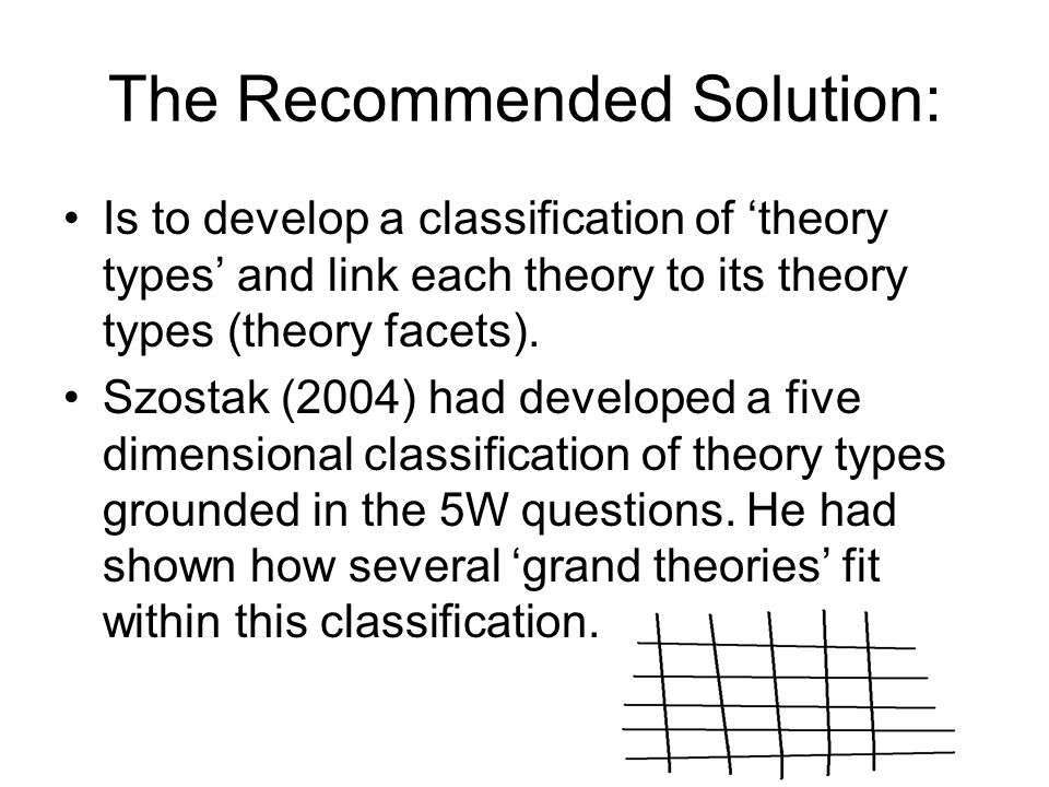 The Recommended Solution: Is to develop a classification of theory types and link each theory to its theory types (theory facets).