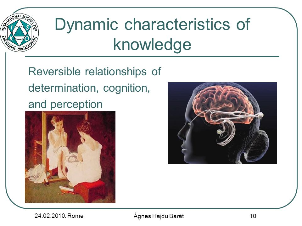 24.02.2010. Rome Ágnes Hajdu Barát 10 Dynamic characteristics of knowledge Reversible relationships of determination, cognition, and perception