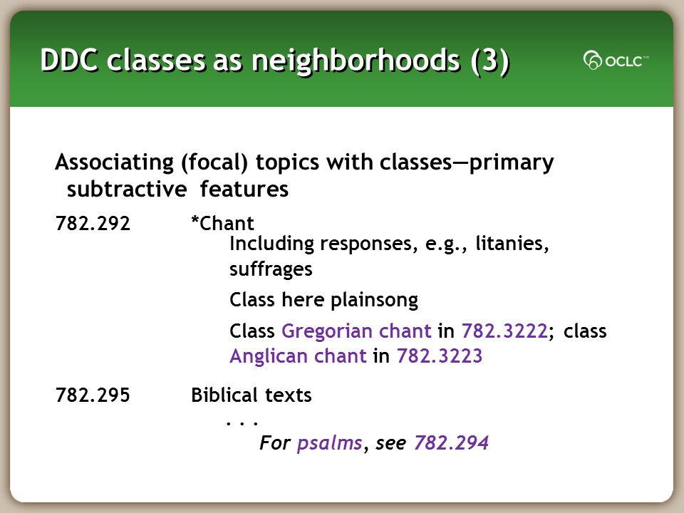 DDC classes as neighborhoods (3) Associating (focal) topics with classesprimary subtractive features *Chant Biblical texts...