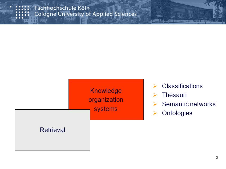 3 Classifications Thesauri Semantic networks Ontologies Knowledge organization systems Retrieval