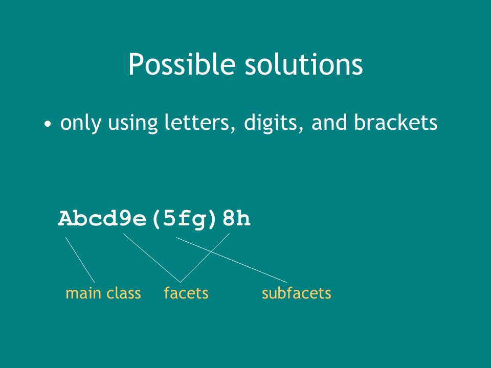 Possible solutions only using letters, digits, and brackets Abcd9e(5fg)8h main classfacetssubfacets