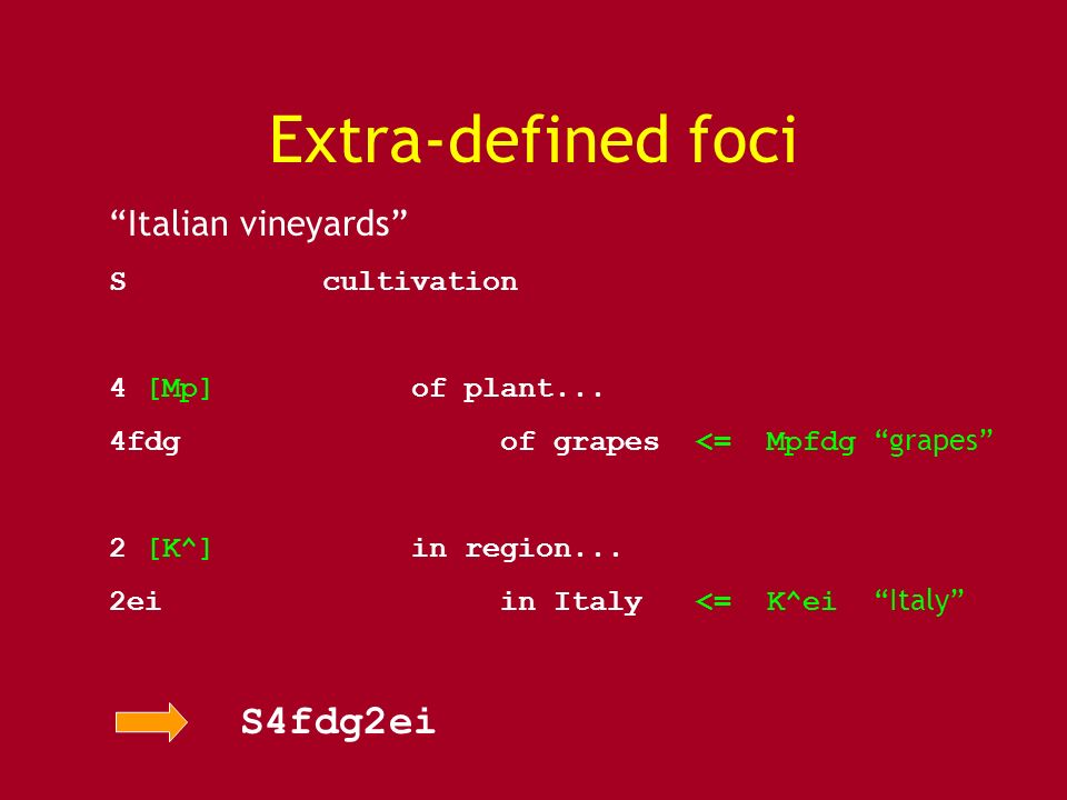 Extra-defined foci Italian vineyards Scultivation 4 [Mp] of plant... 4fdg of grapes <= Mpfdg grapes 2 [K^] in region... 2ei in Italy <= K^ei Italy S4f