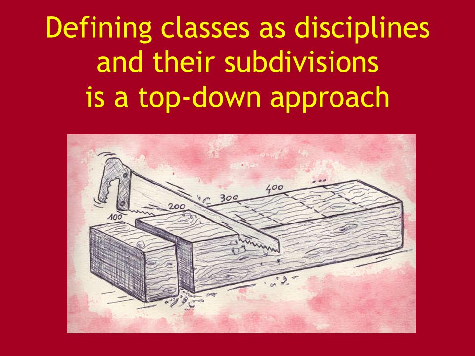 Defining classes as disciplines and their subdivisions is a top-down approach