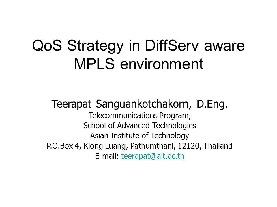 QoS Strategy in DiffServ aware MPLS environment Teerapat Sanguankotchakorn, D.Eng. Telecommunications Program, School of Advanced Technologies Asian I