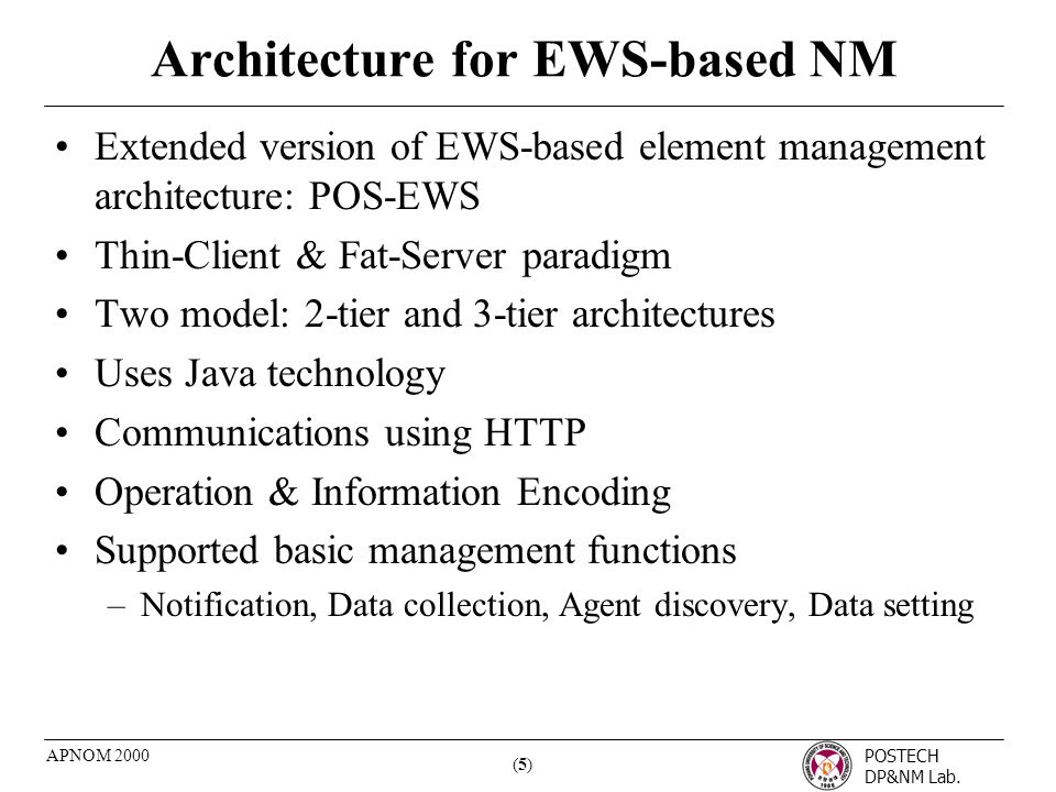 POSTECH DP&NM Lab. (5)(5) APNOM 2000 Architecture for EWS-based NM Extended version of EWS-based element management architecture: POS-EWS Thin-Client