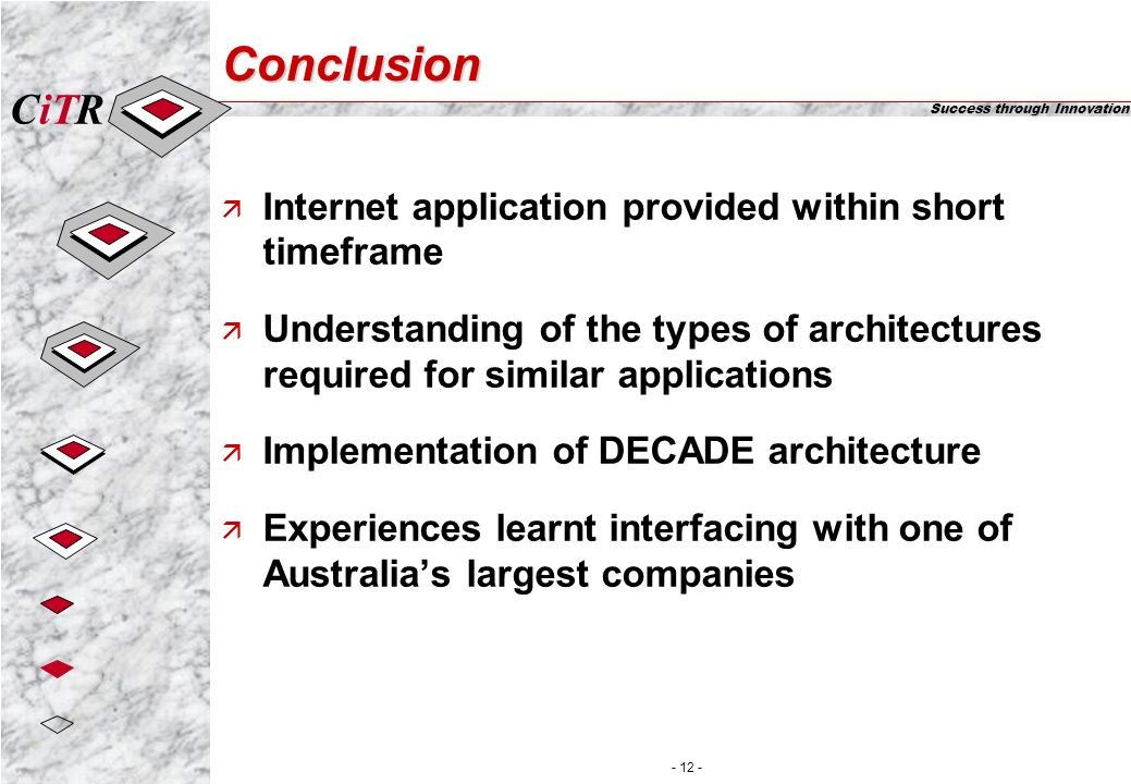 iTCR Success through Innovation - 12 - Conclusion ä Internet application provided within short timeframe ä Understanding of the types of architectures required for similar applications ä Implementation of DECADE architecture ä Experiences learnt interfacing with one of Australias largest companies