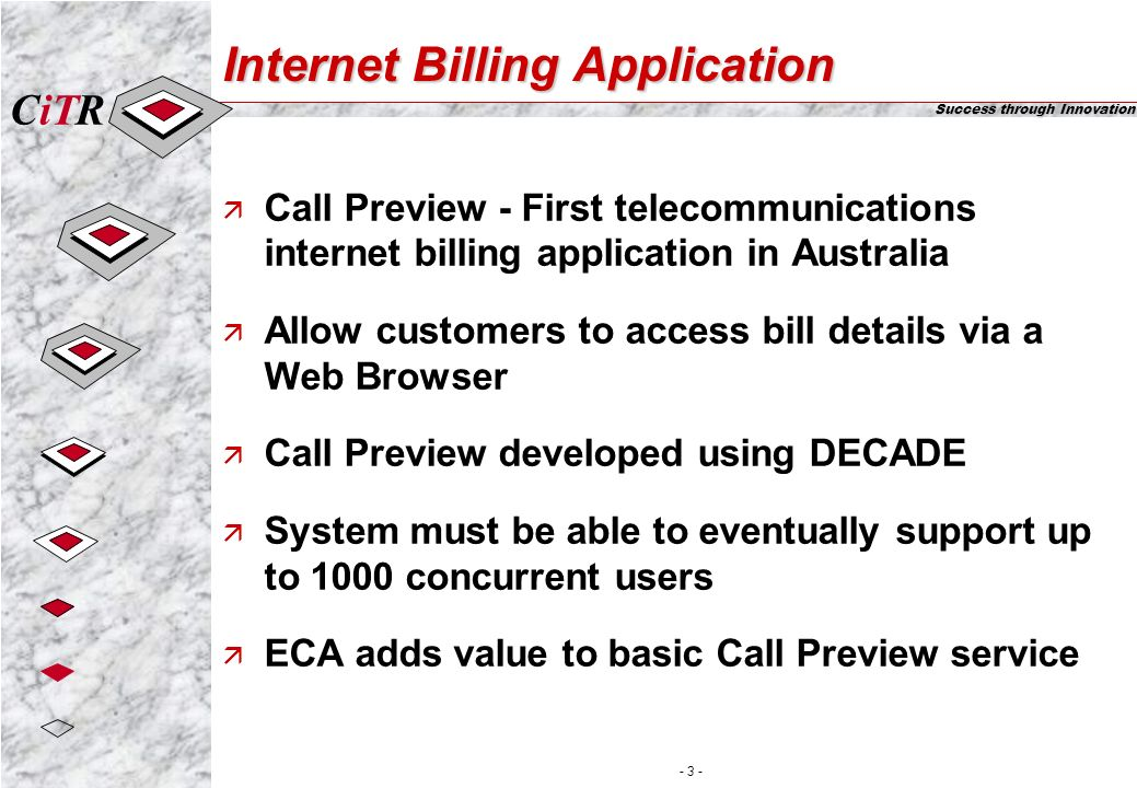 iTCR Success through Innovation - 3 - Internet Billing Application ä Call Preview - First telecommunications internet billing application in Australia