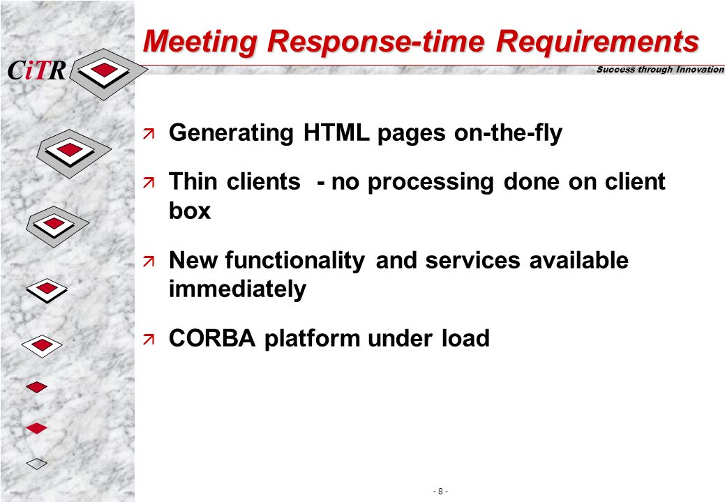 iTCR Success through Innovation - 8 - Meeting Response-time Requirements ä Generating HTML pages on-the-fly ä Thin clients - no processing done on client box ä New functionality and services available immediately ä CORBA platform under load