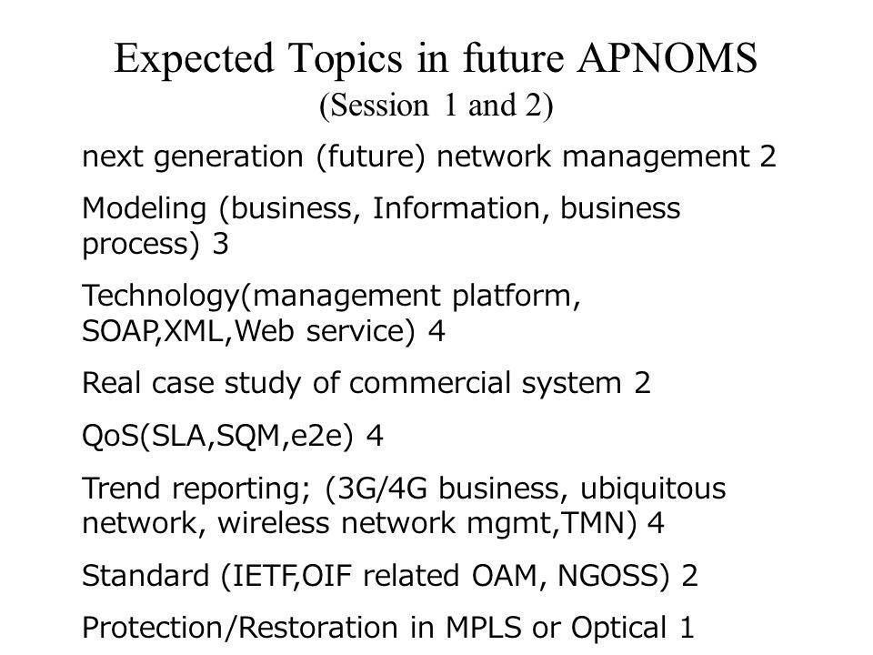 Expected Topics in future APNOMS (Session 1 and 2) next generation (future) network management 2 Modeling (business, Information, business process) 3