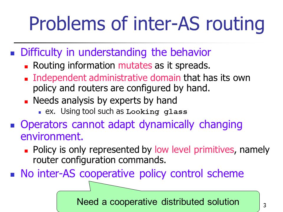 APNOMS 20033 Problems of inter-AS routing Difficulty in understanding the behavior Routing information mutates as it spreads.