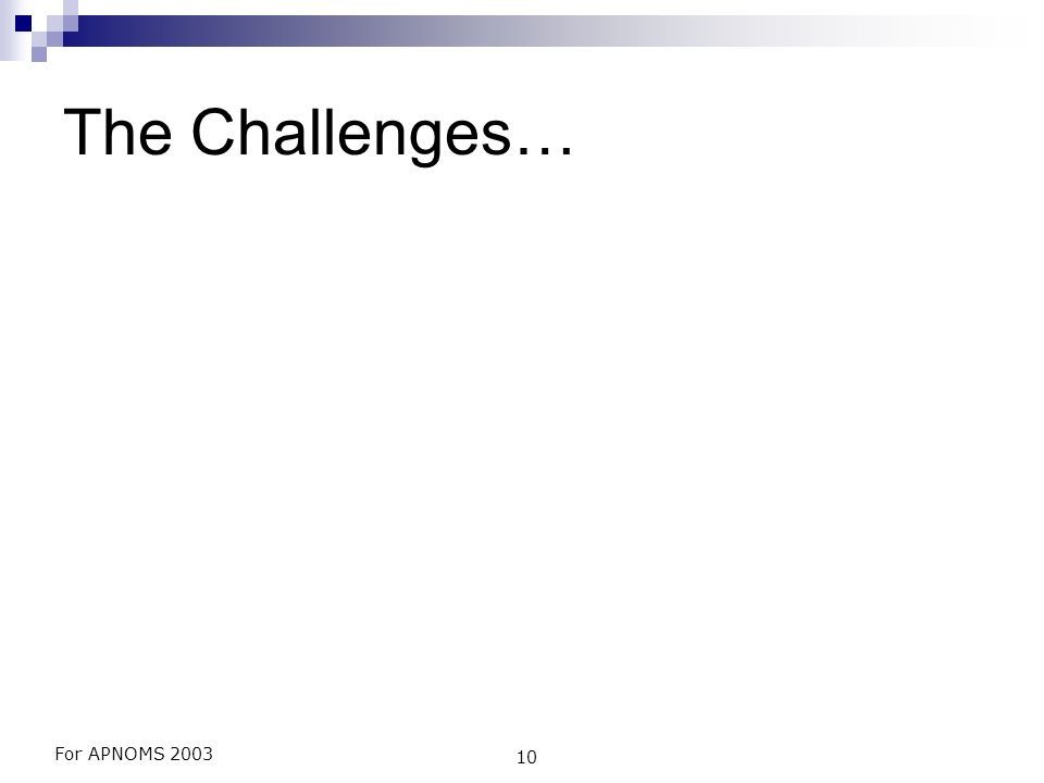 For APNOMS 2003 10 The Challenges…
