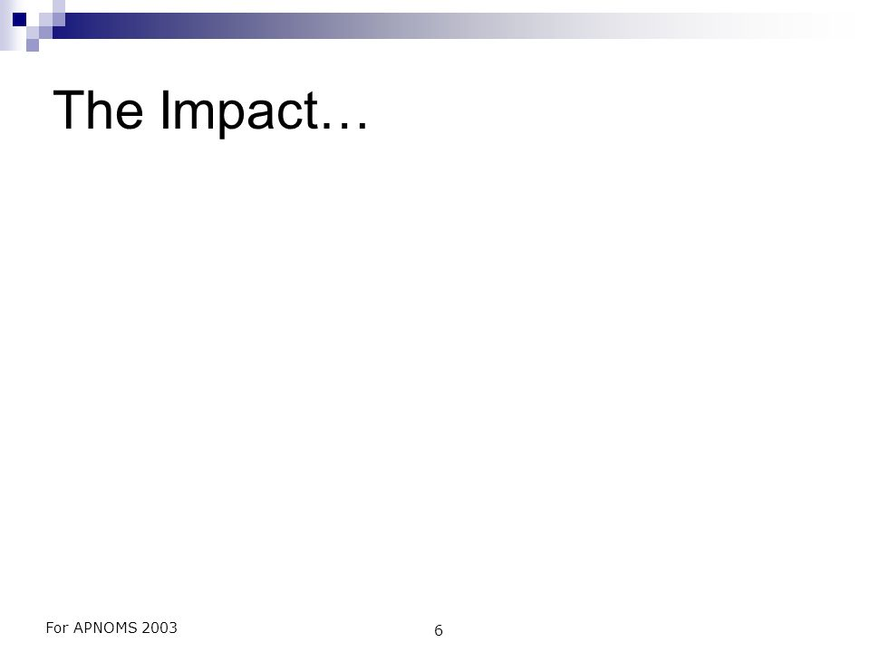 For APNOMS 2003 6 The Impact…