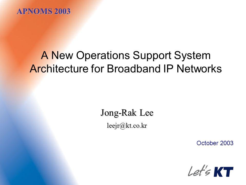APNOMS 2003 A New Operations Support System Architecture for Broadband IP Networks October 2003 Jong-Rak Lee leejr@kt.co.kr