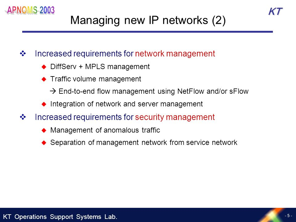 KT Operations Support Systems Lab. - 5 - KT Managing new IP networks (2) Increased requirements for network management DiffServ + MPLS management Traf