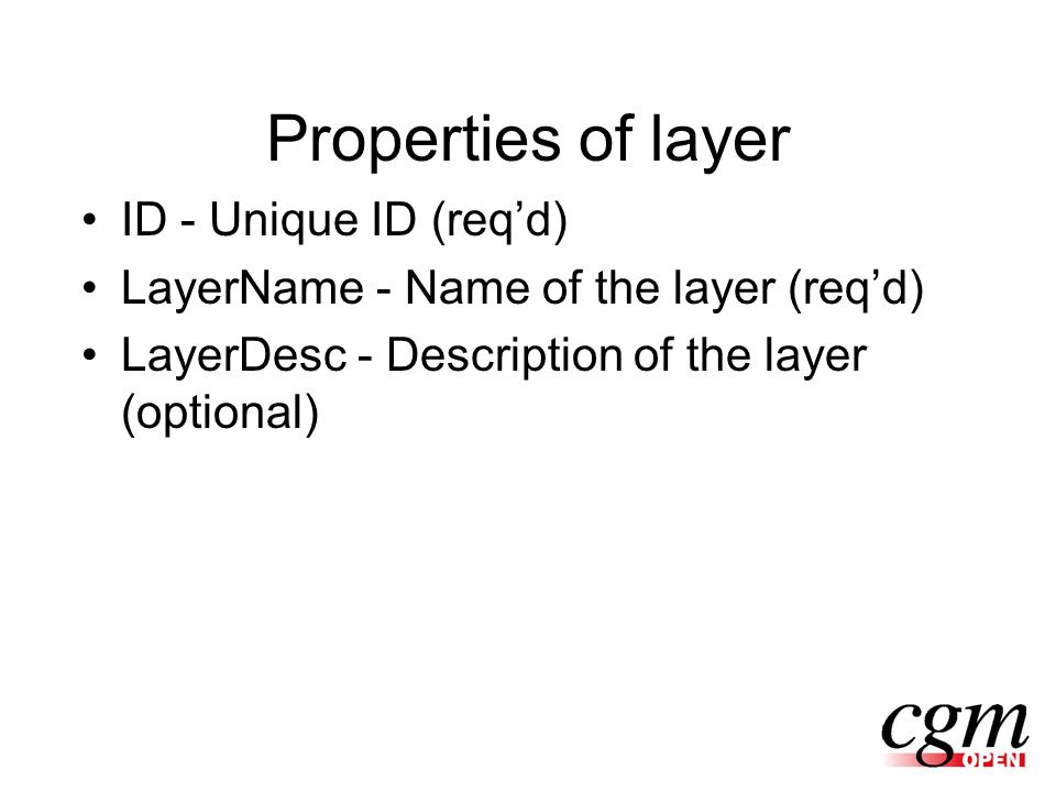 Properties of layer ID - Unique ID (reqd) LayerName - Name of the layer (reqd) LayerDesc - Description of the layer (optional)