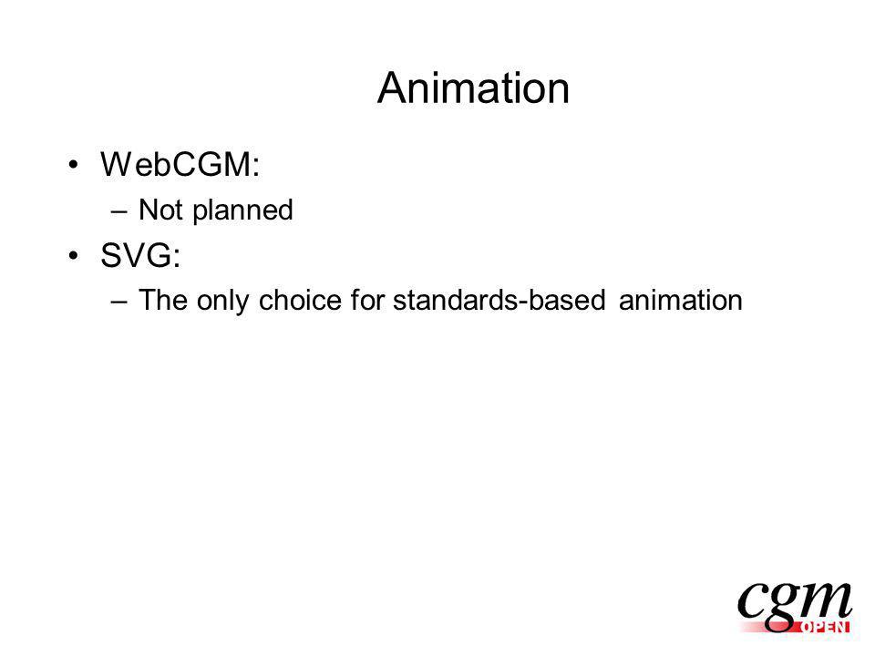 Animation WebCGM: –Not planned SVG: –The only choice for standards-based animation