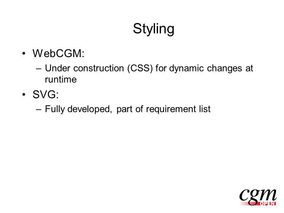 Styling WebCGM: –Under construction (CSS) for dynamic changes at runtime SVG: –Fully developed, part of requirement list