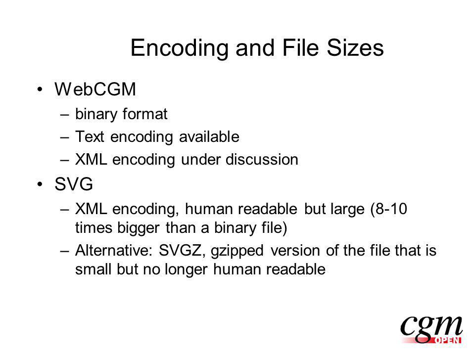 Encoding and File Sizes WebCGM –binary format –Text encoding available –XML encoding under discussion SVG –XML encoding, human readable but large (8-10 times bigger than a binary file) –Alternative: SVGZ, gzipped version of the file that is small but no longer human readable
