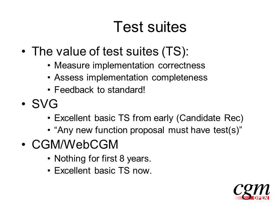 Test suites The value of test suites (TS): Measure implementation correctness Assess implementation completeness Feedback to standard.