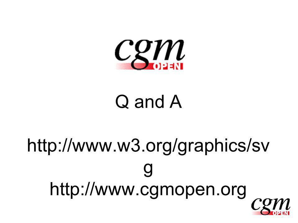 Q and A http://www.w3.org/graphics/sv g http://www.cgmopen.org