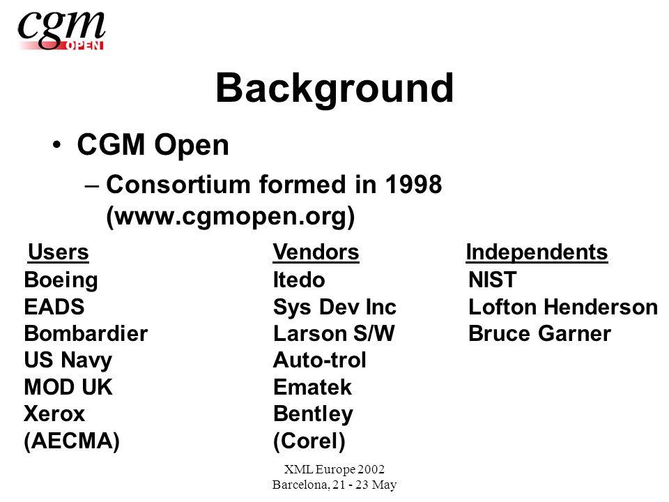 XML Europe 2002 Barcelona, 21 - 23 May Background CGM Open –Consortium formed in 1998 (www.cgmopen.org) UsersVendorsIndependents Boeing EADS Bombardier US Navy MOD UK Xerox (AECMA) Itedo Sys Dev Inc Larson S/W Auto-trol Ematek Bentley (Corel) NIST Lofton Henderson Bruce Garner