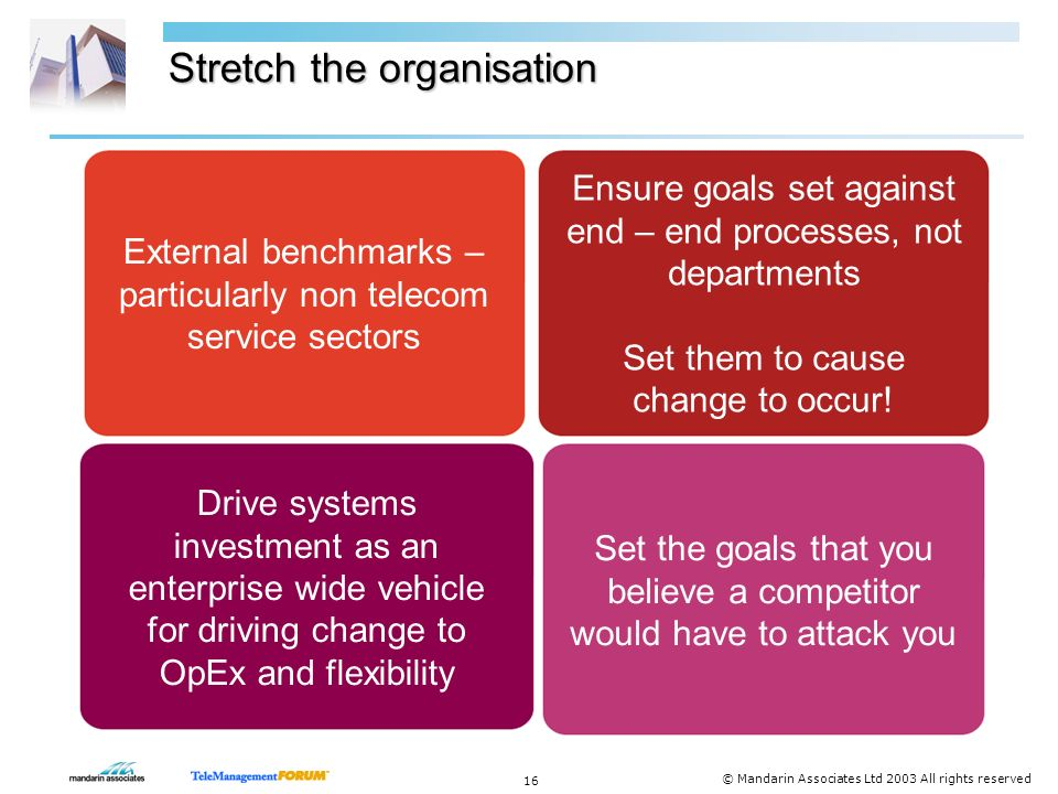 15 © Mandarin Associates Ltd 2003 All rights reserved 7 steps to becoming a Lean operator Stretch the organisation - Set stretching goals for operating cost, flexibility and cost of change to cause transformation Transform processes and systems progressively - heroic change programs are less effective than continuous change with consistent goals Drive home flexibility – progressively get rid of hardwired processes & systems Unlock the business intelligence - unlock the vital customer information buried in today s fragmented systems Design in the ability to react to the unknown – markets are volatile.