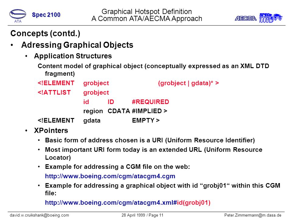 Graphical Hotspot Definition A Common ATA/AECMA Approach Spec 2100 28 April 1999 / Page 11Peter.Zimmermann@m.dasa.dedavid.w.cruikshank@boeing.com Concepts (contd.) Adressing Graphical Objects Application Structures Content model of graphical object (conceptually expressed as an XML DTD fragment) <!ATTLISTgrobject idID#REQUIRED regionCDATA#IMPLIED > XPointers Basic form of address chosen is a URI (Uniform Resource Identifier) Most important URI form today is an extended URL (Uniform Resource Locator) Example for addressing a CGM file on the web: http://www.boeing.com/cgm/atacgm4.cgm Example for addressing a graphical object with id grobj01 within this CGM file: http://www.boeing.com/cgm/atacgm4.xml#id(grobj01)