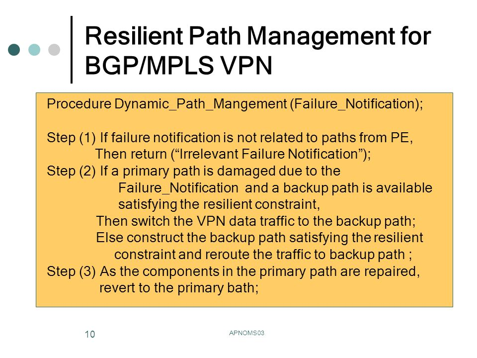 APNOMS03 10 Resilient Path Management for BGP/MPLS VPN Procedure Dynamic_Path_Mangement (Failure_Notification); Step (1) If failure notification is not related to paths from PE, Then return (Irrelevant Failure Notification); Step (2) If a primary path is damaged due to the Failure_Notification and a backup path is available satisfying the resilient constraint, Then switch the VPN data traffic to the backup path; Else construct the backup path satisfying the resilient constraint and reroute the traffic to backup path ; Step (3) As the components in the primary path are repaired, revert to the primary bath;