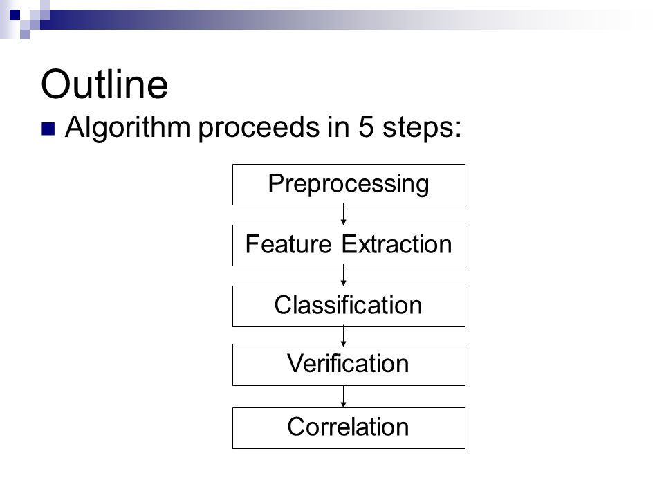 Outline Preprocessing Feature Extraction Classification Verification Correlation Algorithm proceeds in 5 steps:
