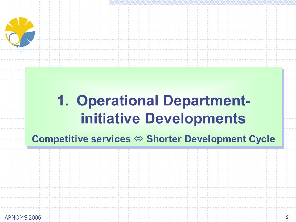 APNOMS 2006 3 1.Operational Department- initiative Developments Competitive services Shorter Development Cycle 1.Operational Department- initiative De