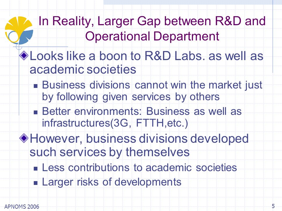 APNOMS 2006 5 In Reality, Larger Gap between R&D and Operational Department Looks like a boon to R&D Labs. as well as academic societies Business divi