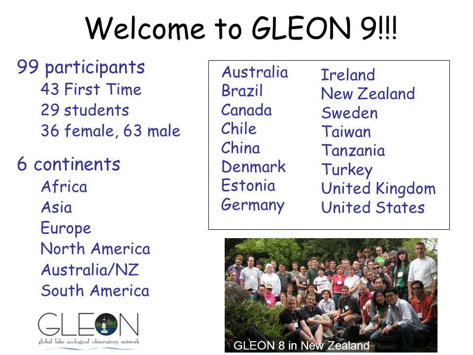 99 participants 43 First Time 29 students 36 female, 63 male 6 continents Africa Asia Europe North America Australia/NZ South America Australia Brazil Canada Chile China Denmark Estonia Germany Ireland New Zealand Sweden Taiwan Tanzania Turkey United Kingdom United States Welcome to GLEON 9!!.