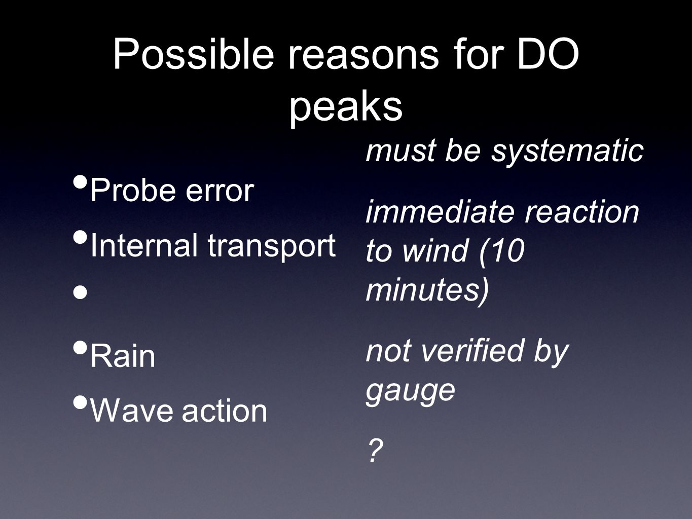 Possible reasons for DO peaks Probe error Internal transport Rain Wave action must be systematic immediate reaction to wind (10 minutes) not verified