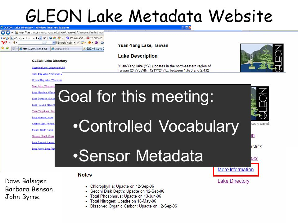 GLEON Lake Metadata Website Dave Balsiger Barbara Benson John Byrne Goal for this meeting: Controlled Vocabulary Sensor Metadata