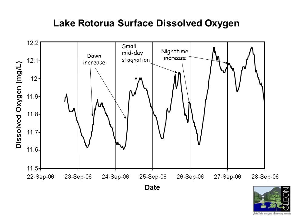 Nighttime increase Dawn increase Small mid-day stagnation Lake Rotorua Surface Dissolved Oxygen 22-Sep-0623-Sep-0624-Sep-0625-Sep-0626-Sep-0627-Sep-06